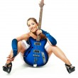 Woman with a guitar — Stock Photo