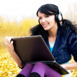 Woman with a laptop — Foto de Stock