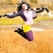 Jumping girl outdoor — Stock Photo