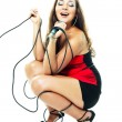 Sexy singing woman — Stockfoto