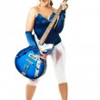 Sexy girl playing the guitar — Stock Photo