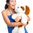 Happy girl with a toy — Stock Photo