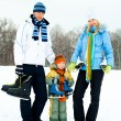 Family ice skating - Stockfoto