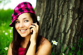 Pretty girl talking on the cellphone — Stock Photo