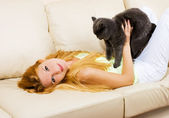 Woman with a cat — Stock Photo