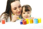 母と娘絵画水彩画と — ストック写真