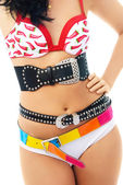 Young woman wearing underwear and three belts — Stock Photo