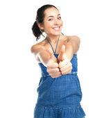 Pretty girl with thumbs up — Stock Photo