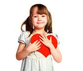 девушка с валентина карты — Стоковое фото