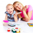 Mother and son painting — Stock Photo