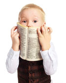 Boy with a dictionary — Stock Photo