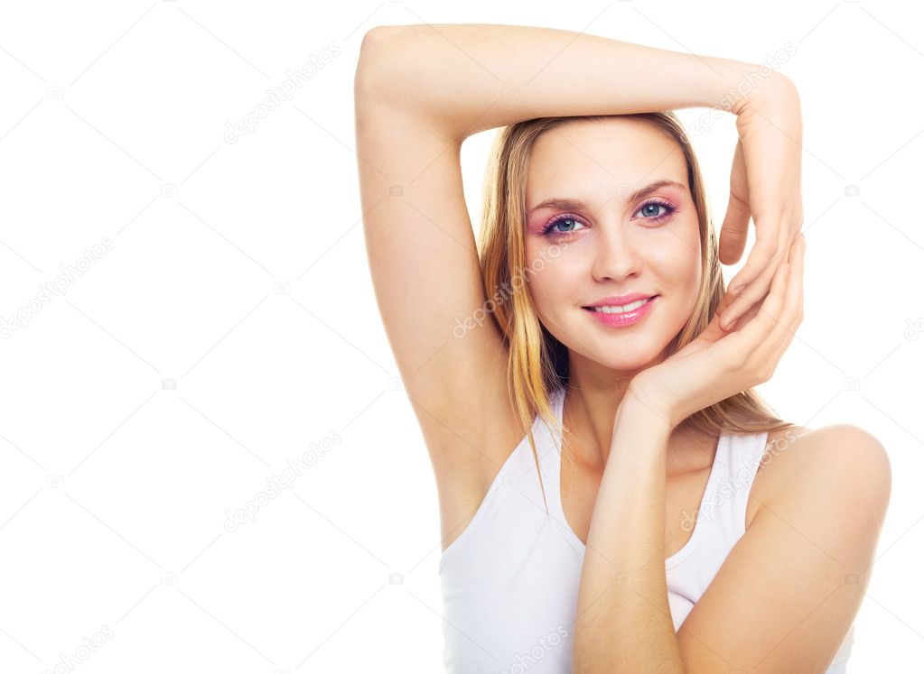 Portrait of a young blond woman with beautiful arms — Stock Photo #2002226