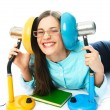 Laughing student with reading lamps — Stock Photo