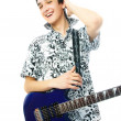 Stock Photo: Confident young mwith guitar