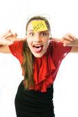 Crazy podnikatelka — Stock fotografie