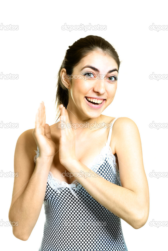 Portrait of a happy beautiful girl clapping her hands — Stock Photo #2242052