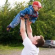 Father and son outdoor - Stock Photo
