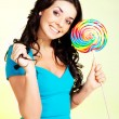 Girl with a lollipop - Stock Photo