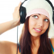 Girl with earphones - Stok fotoğraf