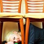 rädd affärskvinna — Stockfoto