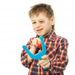 Little boy with a slingshot — Stock Photo