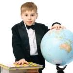 Sxhoolboy with a globe — Stock Photo