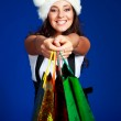 Girl with many bags — Stock Photo