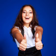 Pretty girl with thumb up — Stock Photo #2606063