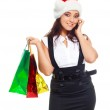 Girl with bags talking on the phone — Stock Photo