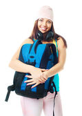 Girl with a rucksack — Stock Photo