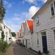 Old houses in Stavanger, Norway. - 图库照片