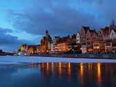 Riverside at dawn in Gdansk, Poland. — Stock Photo