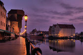 Riverside of Gdansk at dawn. — Stok fotoğraf