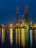 Oil Platform in night — Stock Photo