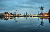 Gdansk shipyard at dawn — Stock Photo