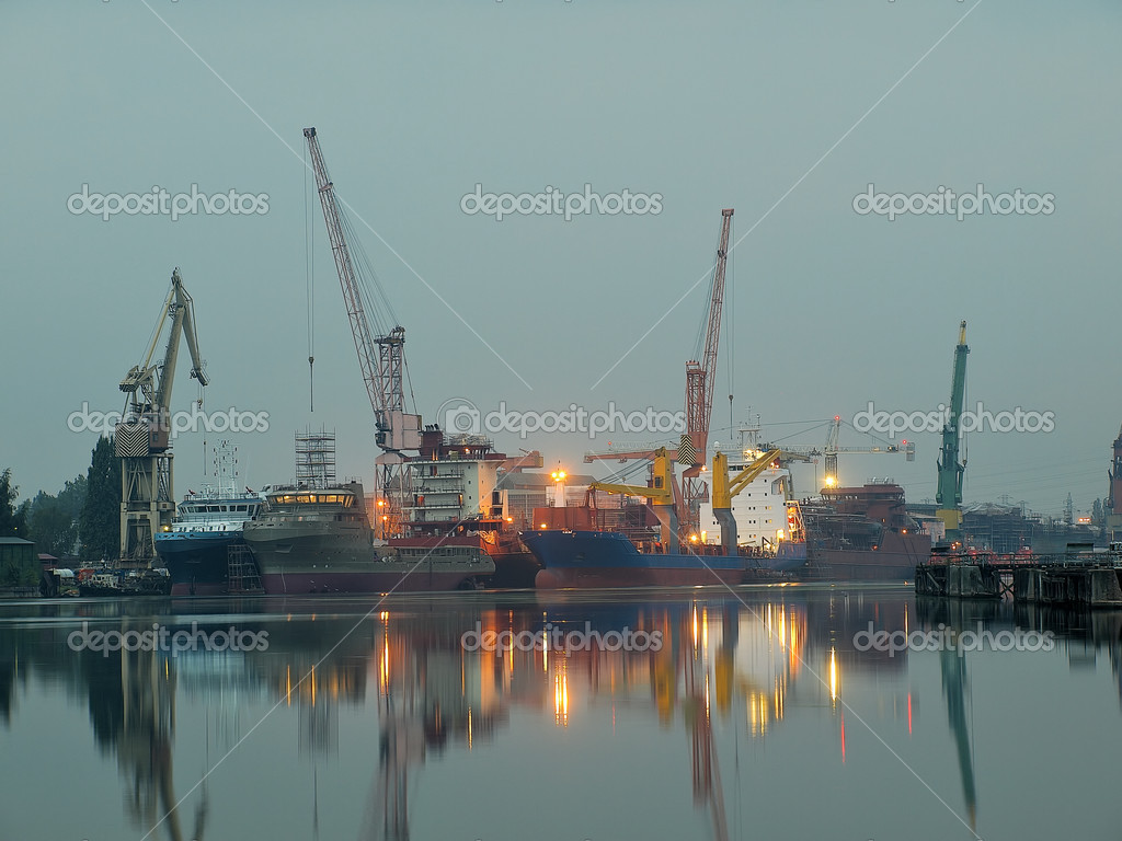 Taken at a Gdansk shipyard at dawn, Poland. — Stock Photo #1946422