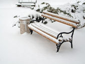 Bench and trashcan covered in snow — Stock Photo