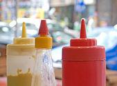 Mustard, mayonnaise and ketchup — Stock Photo