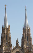 Two towers of catholic cathedral — Stock Photo