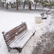 Stock Photo: Bench covered in snow
