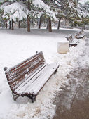 Bench covered in snow — Stock Photo