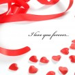 Stock Photo: Love background. Small hearts and ribbon