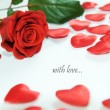 Red rose and little hearts — Stock Photo
