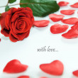 Stock Photo: Red rose and little hearts