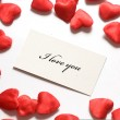 Love message and little hearts around — Stock Photo #2028568
