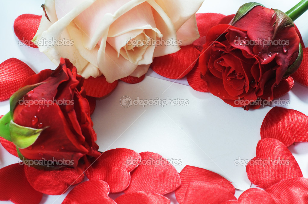 Love message, roses and hearts confetti. Composition for themes like love, valentine's day, holidays. — Stock Photo #2028868
