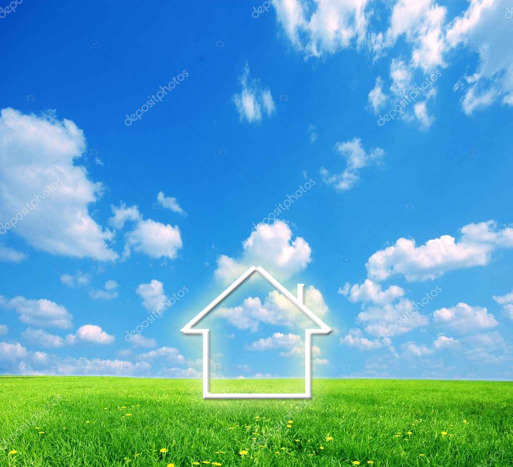 House imagination on green land. Conceptual image — Stock Photo #2029729