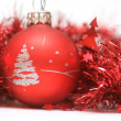 Christmas ball in red decoration - Stock Photo