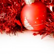 Stock Photo: Christmas ball in red decoration