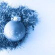 Christmas ball in blue decoration — Stock Photo